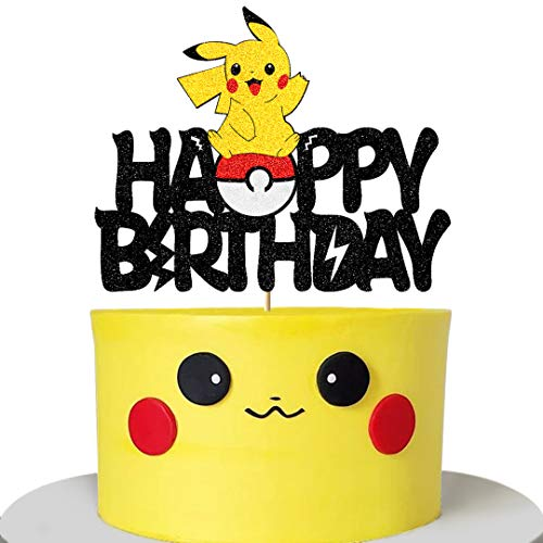 Glorymoment Cake Decor for Pikachu Birthday Cake Topper for Baby Shower Child Birthday Party Supplies, Adorable Glitter Pokemon Cake Toppers for Inspiration Pokeman Go Theme Party Cake Decorations (6.7'' x 5.35'')