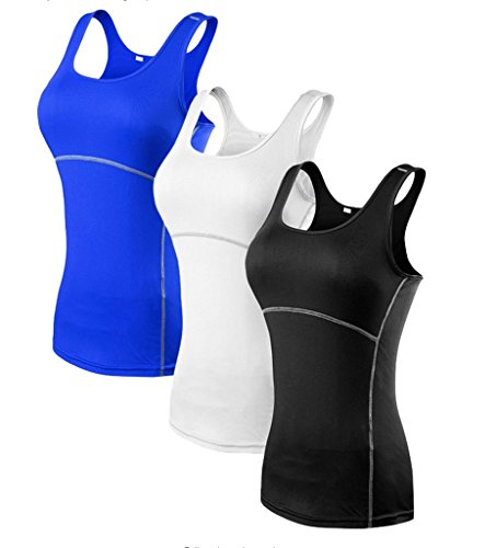 YR.Lover.sport YR.Lover Damen 3er Pack Dry Fit Kompression Running Yoga Tank Top T-Shirt, L, 3er Pack;schwarz.weiß.blau