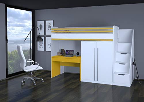 Polini City Hochbett Kombination Schrank Tisch mit Matratze weiß