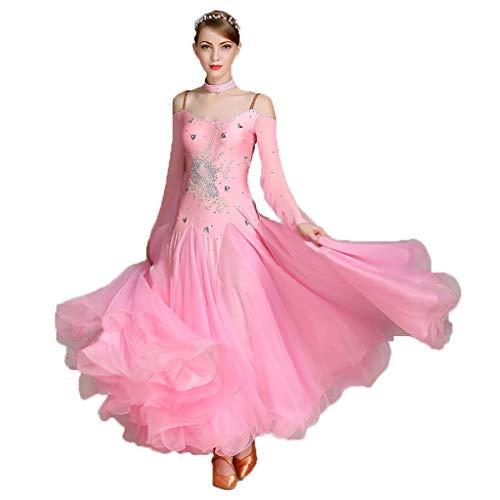 MYF Traje de Baile Moderno, Vestido sin Espalda Sexy para Mujer, Vestido de Noche de cóctel para Banquete para Adultos Disfraz de vals Carnaval Vestido de Noche (Color : Pink, Size : XXL)