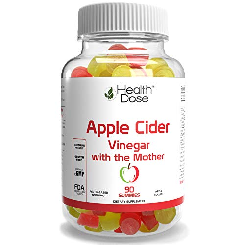 Apple Cider Vinegar Gummy with The Mother by Health Dose 90 Gummies. for Weight Loss Control, Detox, Cleanse, for Women & Men, with Ginger Dry Extract to Support Digestion - Gut, Vegan, Gluten-Free.