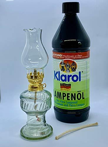 1x Öllampe aus Glas mit goldener Drehfassung 21 cm im Set mit Klarol Lampenöl 1ltr.