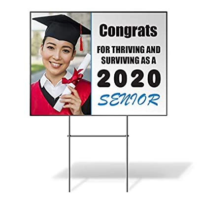 Fastasticdeals Congrats Graduation Personalized Photo Senior 2020 Custom Personalized Yard Sign Wheatherproof for Sale Sign 24Inx18In 2 Sides Print