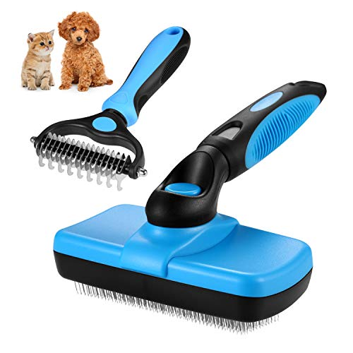 LAIWOO Dog Grooming Brush Cat Brush Self Cleaning Slicker Brush & 2 Sided Pet Neat Grooming Tool for Deshedding, Mats & Tangles Removing