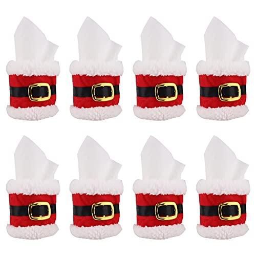 Anillos de Servilleta de Navidad 8 Piezas, Fieltro Toallero de Sujeción Diseño de Hebilla de Cinturón de Santa Anillo de Toalla de Servilleta Cena de Navidad Fiesta de alegría Decoración de la Mesa