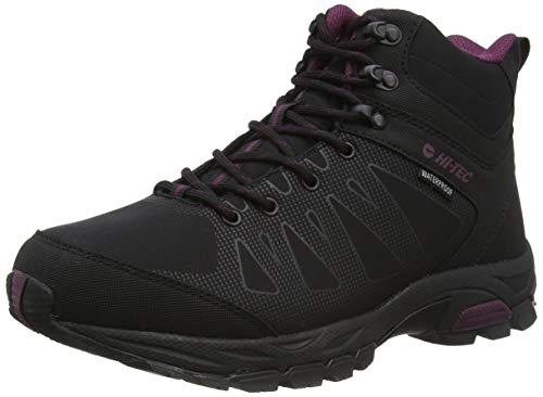 Hi-Tec Damen Raven Mid Wp Womens Trekking- & Wanderstiefel, Schwarz (Black/Grape Wine 21), 42 EU