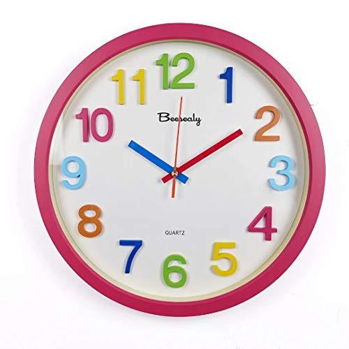 Beesealy Reloj para niños, Reloj de Pared Moderno para niños, decoración de Pared para niños, números 3D, Adecuado para niños y niñas, Cocina del hogar, baño, Escuela, Aula, jardín de Infantes, Rojo