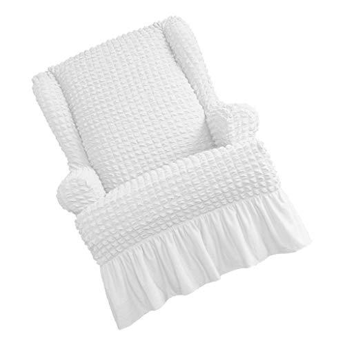 PETSOLA Sofabezug 1 Sitzer Sesselbezug Sesselschoner Sesselhusse Sesselschutz Sesselüberwurf für Ohrensessel Fernsehsessel - Weiß