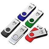 5 X MOSDART 16GB USB 2.0 Flash Drive Swivel Bulk Thumb Drives Memory Sticks Jump Drive Zip Drive with Led Indicator,Black/Blue/Red/White/Green(16GB,5pack Mix Color)