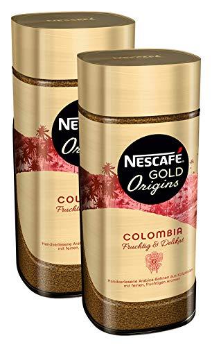 NESCAFÉ GOLD Origins Colombia, löslicher Bohnenkaffee aus 100% Arabica Kaffeebohnen, koffeinhaltig, 2er Pack (2x100g)
