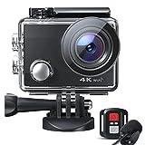 Caméra Sport 4K 20MP WiFi Appareil Photo Étanche avec Microphone Externe Caméra Embarquée Stabilisateur Livrée avec 2 Batteries et Kit d'Accessoires pour Vélo et Plonger CT8500