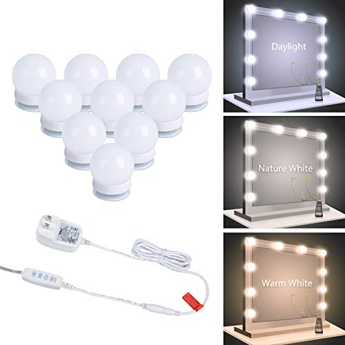 Vanity Lights, Minetom 10 Pcs Led Vanity Makeup Light for Mirror Stick on Lights with Dimmable & 3 Color Modes Light Bulbs in Bedroom Bathroom Dressing Room (Mirror Not Included)
