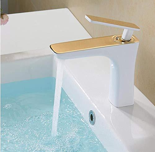 Grifo de lavabo grifo de lavabo blanco grifo de baño colgante de cobre grifo de agua fría y caliente grifo estilo torneira-white_and_ 金_short,NCP5ESKEY99KF