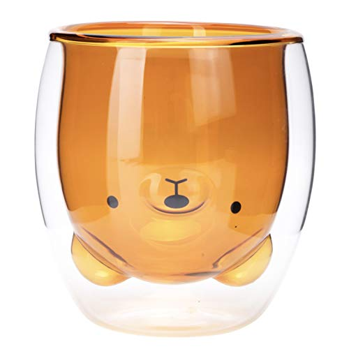 Brown Bear Coffee Cup, Tea Cup, Milk Cup, Double Wall Glass, Cute Gift, 8.4 oz, Office and Personal Cup, Birthday Present