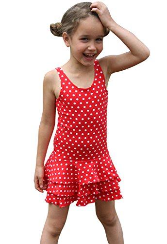 Lilakind Mädchen Kleid Sommerkleid Trägerkleid Jersey Punkte Rot 74/80