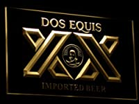 Dos Equis Beer LED看板 ネオンサイン ライト 電飾 広告用標識 W60cm x H40cm イエロー