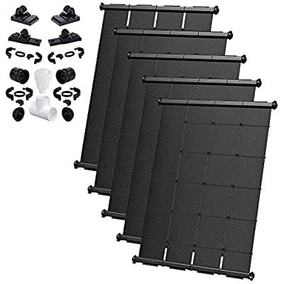 SOLARPOOLSUPPLY Industrial Grade DIY Solar Pool Heater System Kit - Lifetime Limited Warranty - Strapless Mounting Design [5-4x12.5/250 Square Foot Coverage]