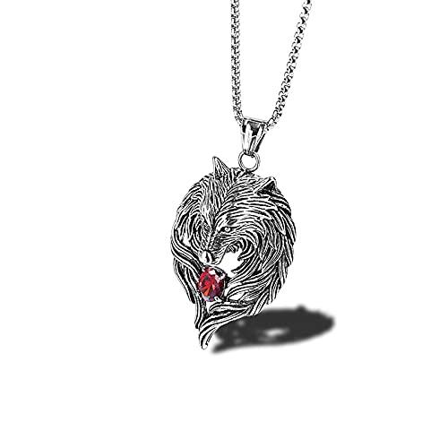 NC520 Colgante de Cabeza de Lobo de Acero de Titanio Punk Rock con Incrustaciones de Diamante Rojo Lobo Totem Collar de Personalidad