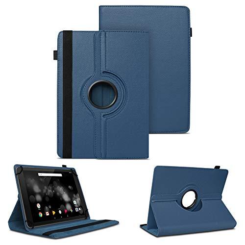 NAUC Tablet Schutzhülle kompatibel für TrekStor Primetab P10 Hülle Tasche Standfunktion 360° Drehbar Cover Hülle Universal Schutzhülle, Farben:Blau