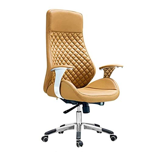 FGDSA Office Chair, Ergonomic Faux Leather Executive Chair Swivel Desk Chair with Chrome Base Rocking Height Adjustable (Color : Yellow, Size : Cowhide)