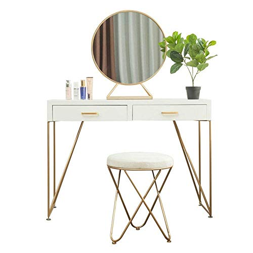 Lowest Prices! HIZLJJ Vanity Table Set with Round Mirror and Cushioned Stool,Metal and Wood Vanity T...