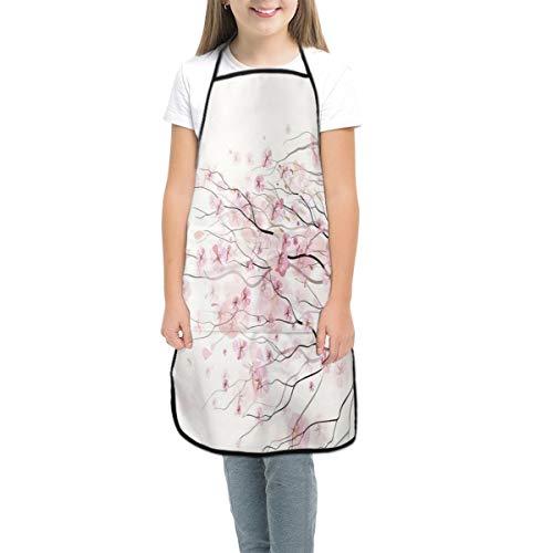 IU POP-Street Unisex Cute Cartoon Kitchen Bib Artistic Sakura Branch with Cherry Flowers Tender Japanese Spring Waterproof Personalized Printing Kitchen Apron for Classroom Art Activity