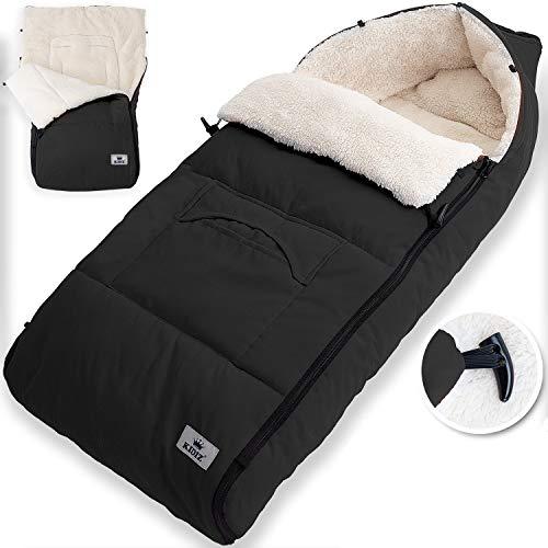 KIDIZ® Babyfußsack Baby Fußsack Winterfußsack Babyschale mit Reißverschluss Kuschelsack Babydecke Kinderwagen waschbar verschließbarer Kopfteil,Tasche, passend für alle Kinderwagen, Farbe:Schwarz