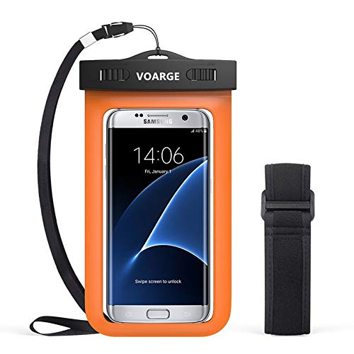Voarge wasserdichte Handyhülle für das Handytasche mit Armband und Schlüsselband für iPhone XS MAX/XR/XS/X, 8,8P, 7,7P, 6,6S Plus, SE 5S, Samsung Galaxy, HTC LG Nokia usw. (orange)
