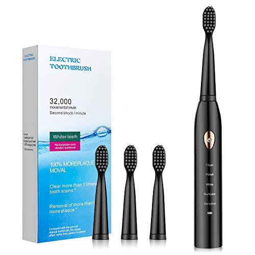 Electric Toothbrush for Adults with Powerful Sonic Cleaning - Whitening Toothbrushes with Smart Timer, 5 Modes, 4 Brush Heads & 1Dust Cover, Dentist Recommended Rechargeable. (Black)