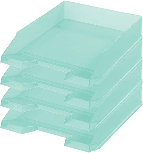Herlitz Ablagekorb/Briefkorb/Briefablage für A4-C4, Pastell, stapelbar (4er Set in minze)