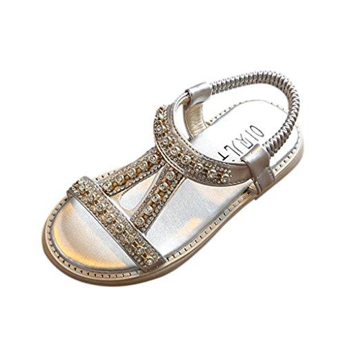 FNKDOR Kinder Baby Mädchen Sandalen Kristall Sandalen Prinzessin Sommer Schuhe (23, Silber)