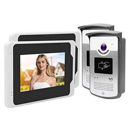 Ángulo de visión del timbre de video de 110 ° Timbre de video 2 monitores 2 cámaras Desbloqueo de tarjeta Control(European regulations)