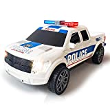 ArtCreativity Police Pickup Truck with LED Headlights and Sirens, Light-Up Push and Go Police Vehicle, Pretend Play Toy for Kids, Best Birthday for Boys, Girls, Toddlers