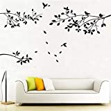 AIYANG Family Tree Branches Wall Decals Birds Wall Stickers Leaves Wall Decor Stickers for Living Room Bedroom Decor (Black)