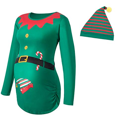 Women's Maternity Christmas Long Sleeve T-Shirt Side Ruched Tops Elf Pregnancy Clothes (Green, Medium)