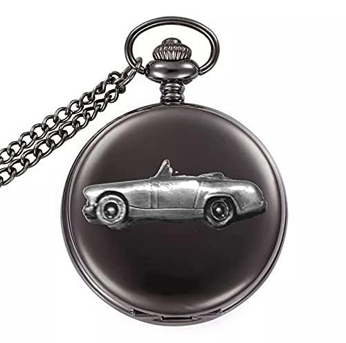 Classic Car Healey Sprite Mk2 ref17 diseño de efecto de peltre en una caja negra pulida para hombre de regalo de cuarzo reloj de bolsillo