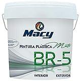 Macy Pintura Plástica Mate BR-5 Antimoho. Con Conservante Antimoho-Antiverdín. Interior y Exterior. 4 Litros. Color Blanco