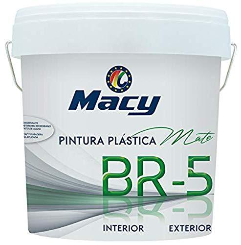 Pintura Plástica Mate BR-5 Antimoho. Con Conservante Antimoho-Antiverdín. Interior y Exterior. 4 Litros. Color Blanco