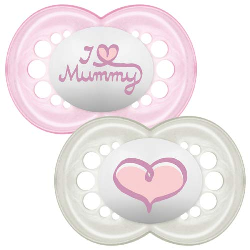 MAM Style I Love Mummy and Daddy Soother for 0 months + (2 pack Pink)