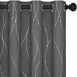 Deconovo Cortina Opaca para Habitación Matrimonio de Línas Plateadas Estilo Moderno Elegante con Ojales 2 Piezas 140x175cm Gris Claro