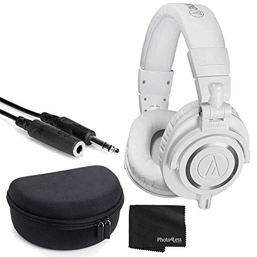 Audio-Technica ATH-M50x Closed-Back Professional Monitor Headphones - 90° Swiveling Earcups (White) + Headphone Case + 1/4 inch TRS Extension Cable + Cloth – Deluxe Headphone Bundle