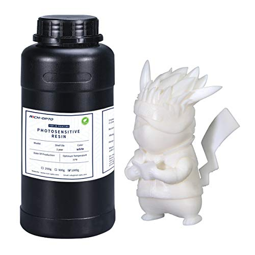Rich-OPTO 3D Printer Resin UV-Curing 405nm Rapid High Precision Quick Curing Standard Photopolymer Resolution Low Odor for LCD 3D Printing Liquid White 1000g with Grinding Rod (DIY Color)