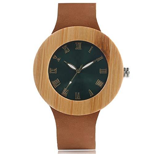 IOMLOP Reloj de Madera, Reloj de Madera de bambú Natural de primeras Marcas, Relojes de Pulsera de Cuarzo conEsferaRedonda Verde a la Moda, Correa deCueropara Mujer, Esfera Verde