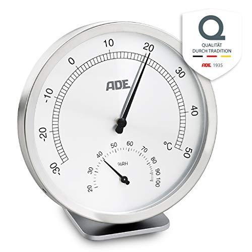 ADE Analoges Thermo-Hygrometer WS 1813 (Mechanisches Thermometer mit Hygrometer, aus Edelstahl mit Abdeckung aus Glas, 11,5 cm Durchmesser) silber