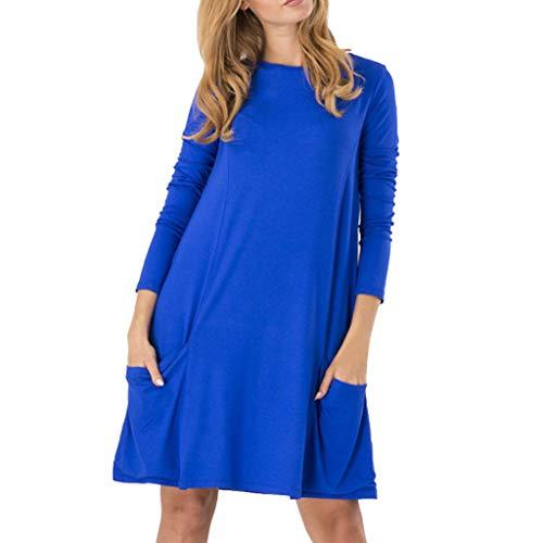 MAYOGO Damen Kleider Langarm Casual Kaftan Kleid mit Tasche, Frauen Sommer-Herbst Freizeitkleider Einfarbig Schick Jersey Kleid mit Ärmeln
