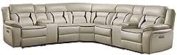 "top 10 homelegance leather sofa Homelegance Amite 119 ""x 119"" Power Leather Gel Section Sofa, Beige"