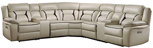 Homelegance Amite 119' x 119' Leather Gel Power Reclining Sectional Sofa, Beige