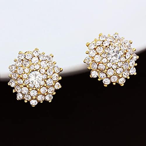 Grandi Orecchini A Clip in Oro di Cristallo Senza Piercing Orecchini A Clip Rotondi per Orecchini da Donna con Orecchini A Clip con Strass