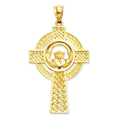 Lex & Lu 14k Yellow Gold Celtic Claddagh Cross Pendant