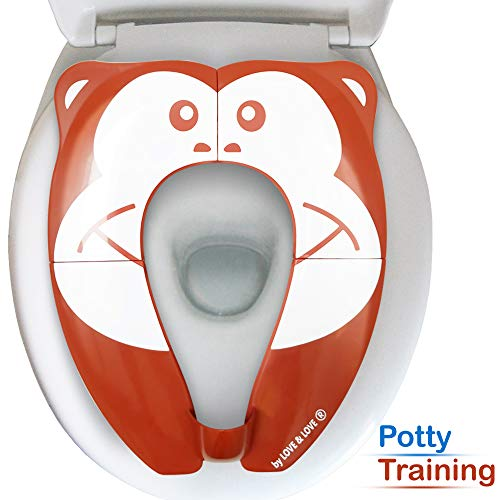 Potty Training Seat [by Love & Love] Portable Travel Potty and Foldable Popular Monkey Design Potty Girls Boys Potty Training Toilet Seat Cover Upgraded W/Urine Splashguard and Travel Bag Shower Gift